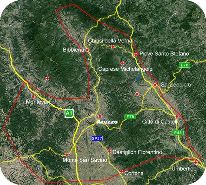 Etruscan Corner Geogrphic Map Arezzo Lucumonia
