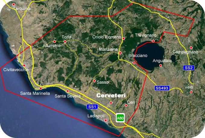 Etruscan Corner Geogrphic Map Cerveteri Lucumonia