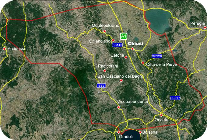 Etruscan Corner Geogrphic Map Chiusi Lucumonia