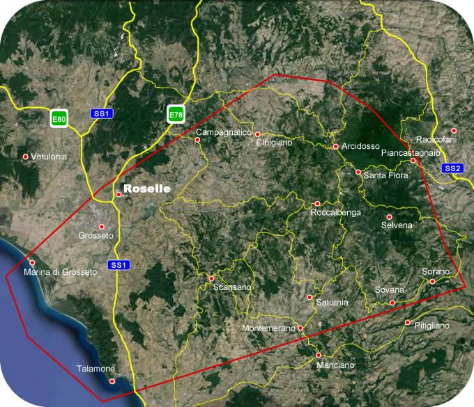 Etruscan CornerGeographic Map Roselle Lucumonia