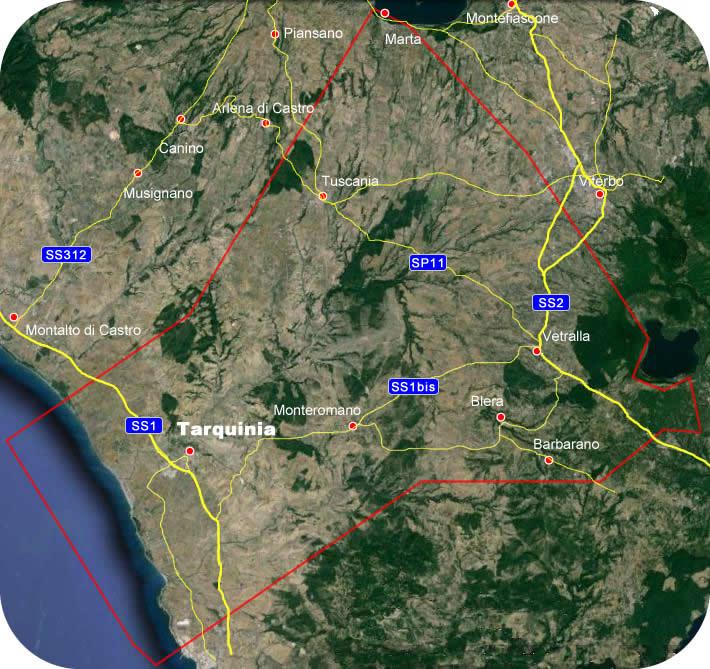 Etruscan CornerGeographic Map  Tarquinia Lucumonia