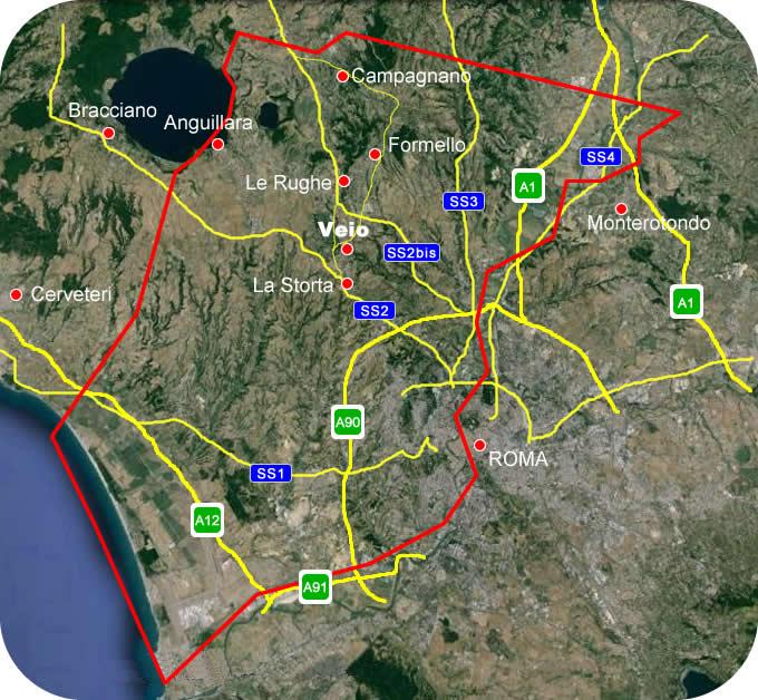 Etruscan Corner Geogrphic Map Veio Lucumonia