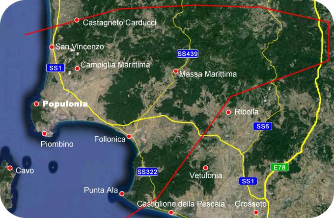 Etruscan Corner Geogrphic Map Populonia Lucumonia