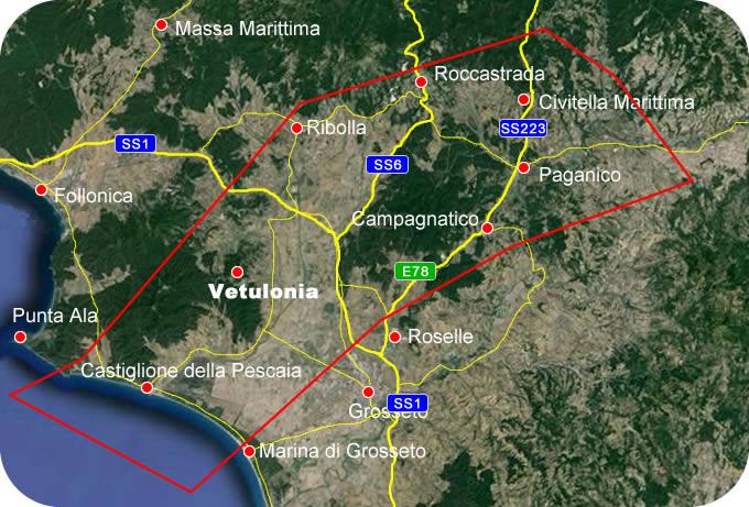 Etruscan Corner Geogrphic Map Vetulonia Lucumonia