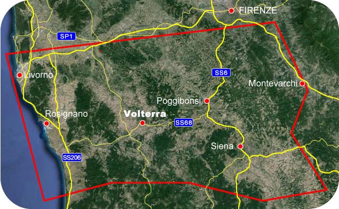 Etruscan Corner Geographic Map Volterra Lucumonia