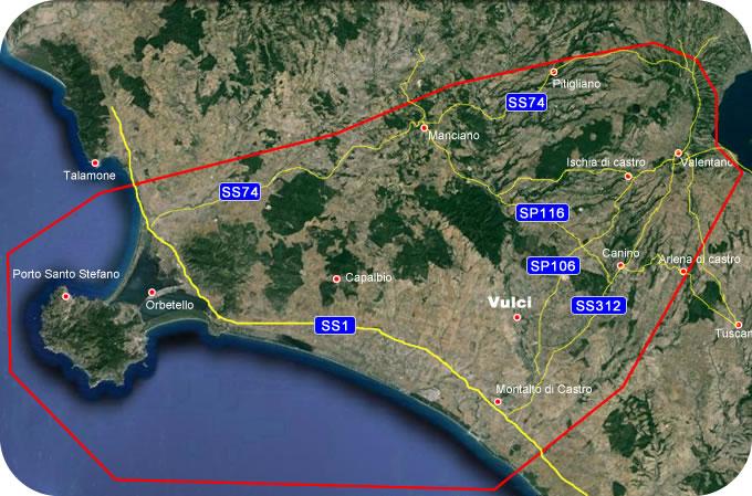 Etruscan CornerGeographic Map Vulci Lucumonia