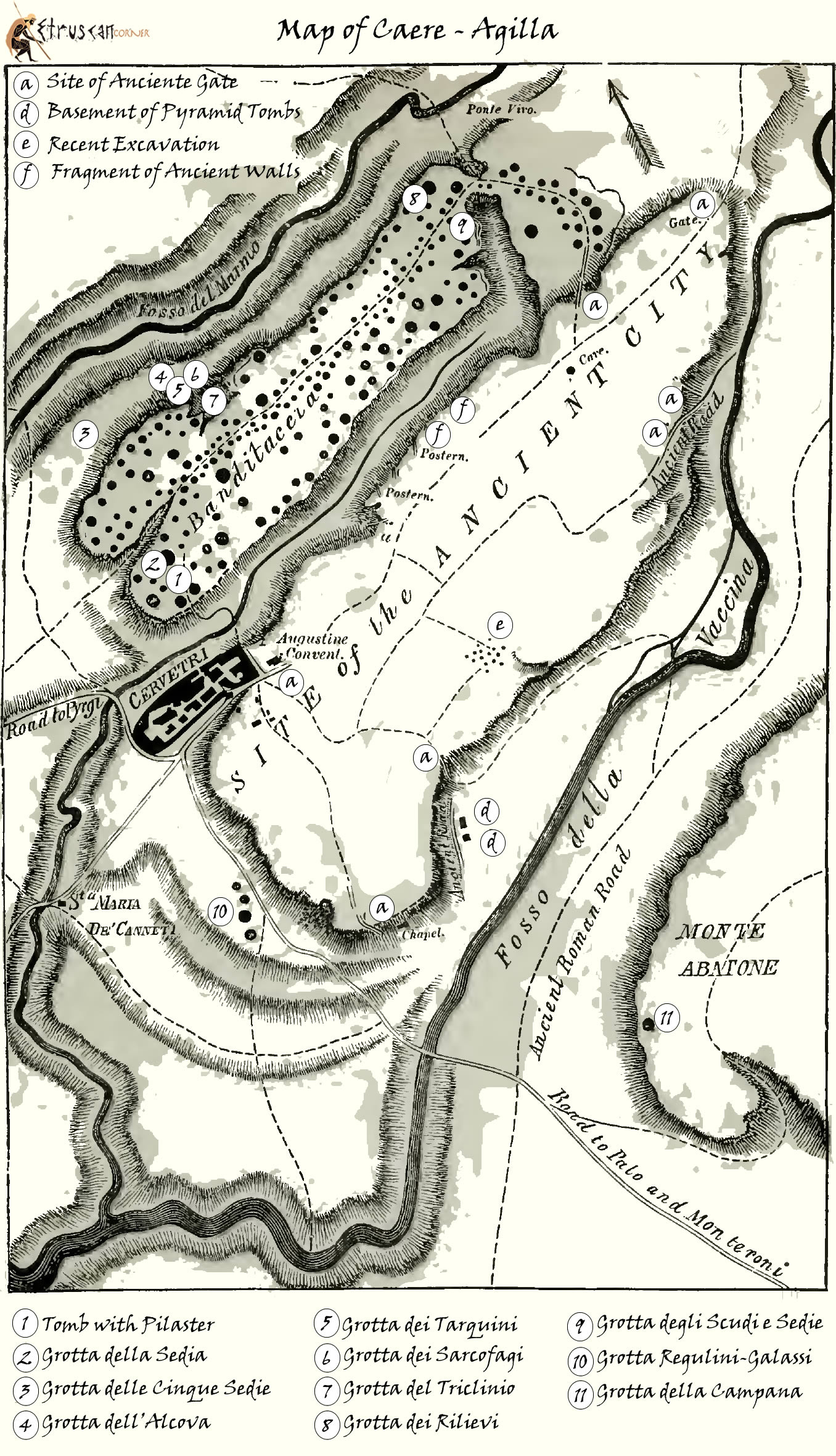 Map of Caere Agilla and its Necropolis Etruscan Corner