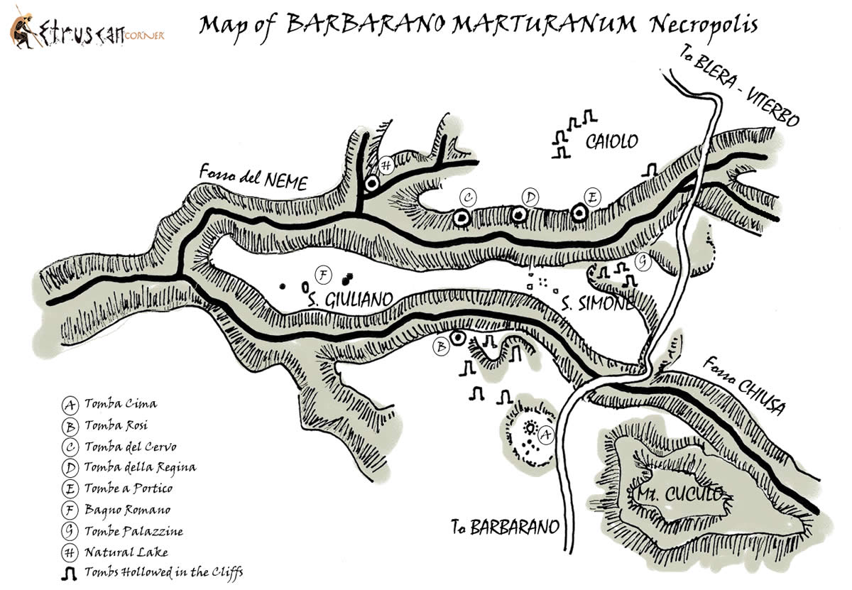 Map of Barbarano San Giliano Necropolis Etruscan Corner