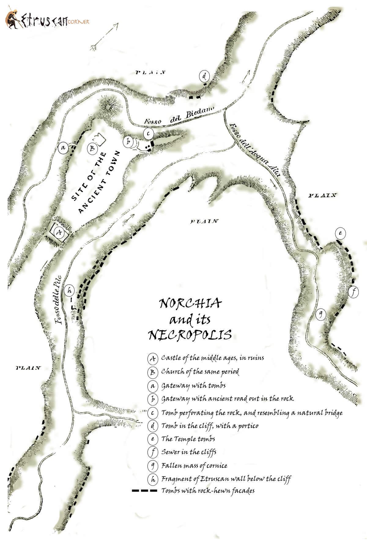 Map of Norchia Necropolis Etruscan Corner