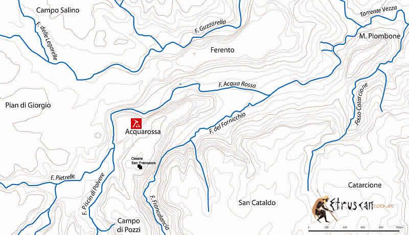 Etruscan Corner Hydrographic Map Acquarossa