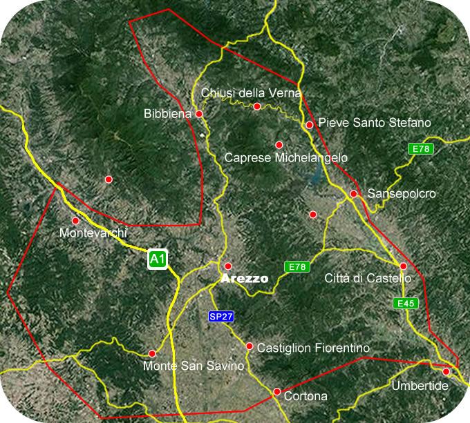 Etruscan Corner Carta Geografica Lucumonia di Arezzo