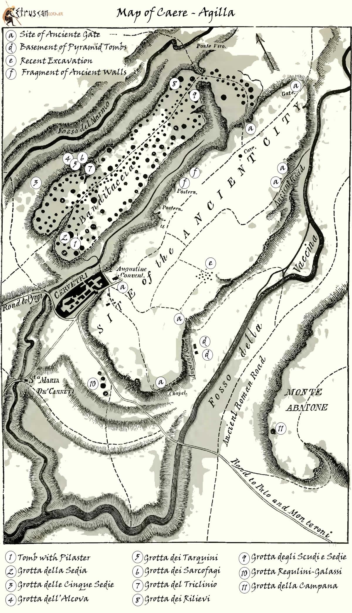 Mappa di Caere Agilla Cerveteri