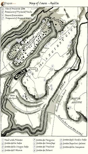 Mappa di Caere Agilla Cerveteri Small Etruscan Corner