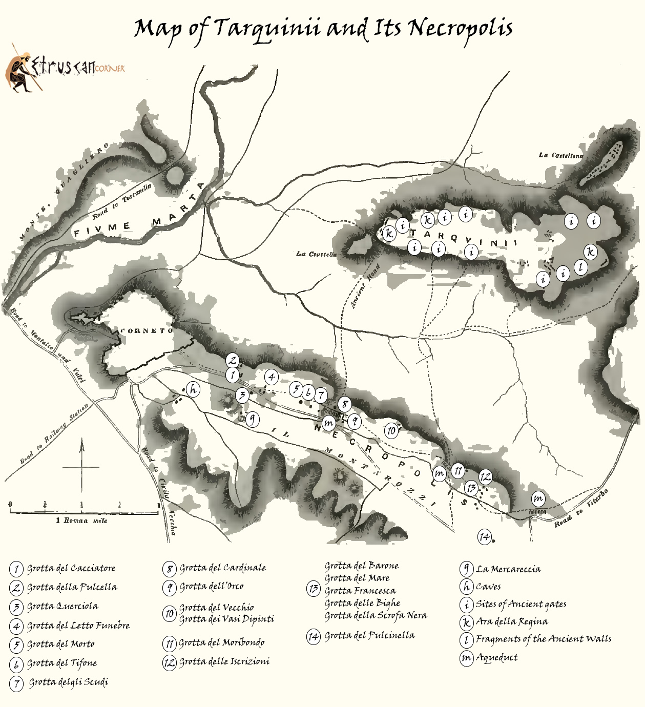 Mappa di Tarquinia e Necropoli