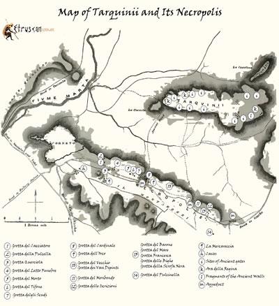 Mappa di Tarquinia e Necropoli small Etruscan Corner