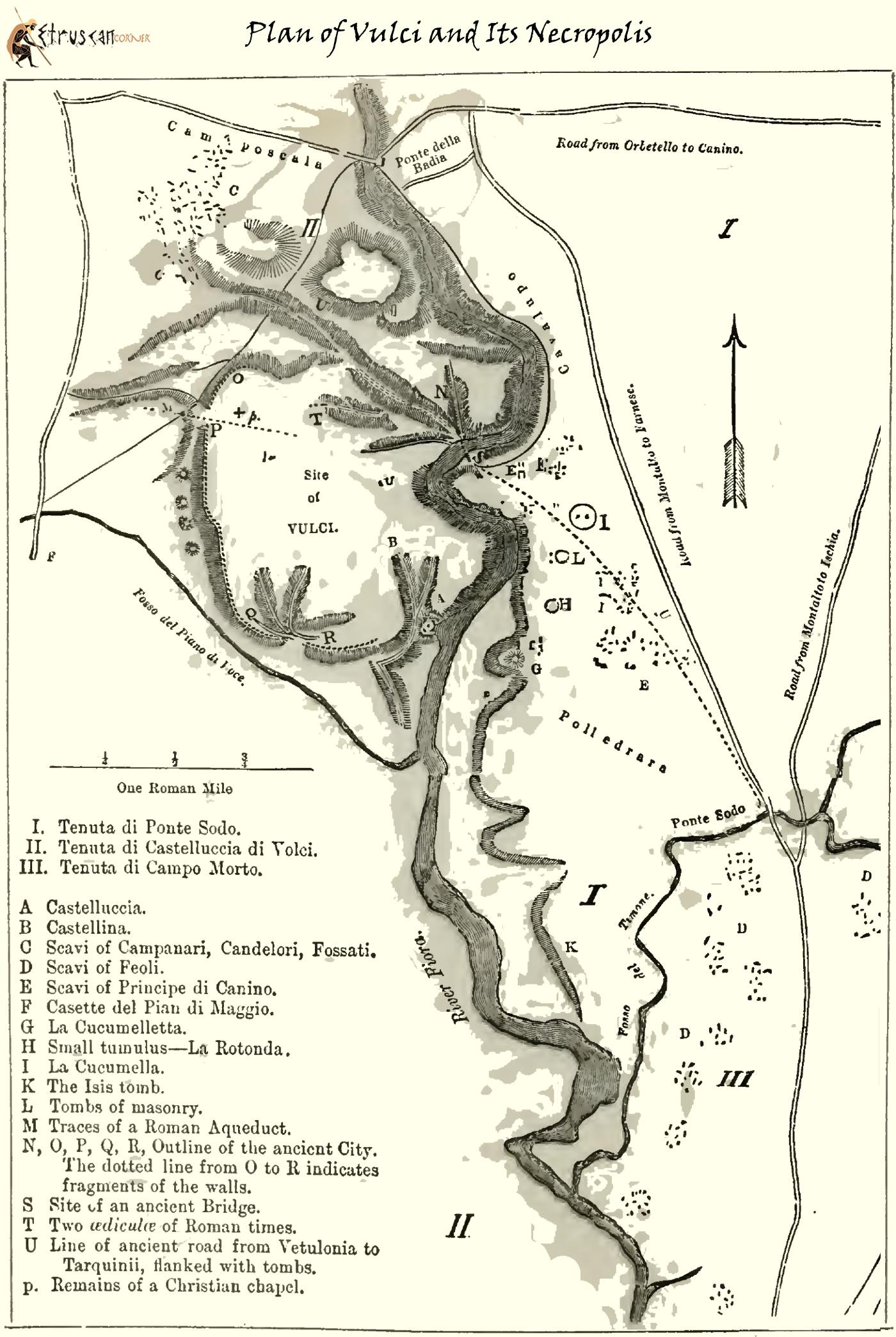 Mappa di Vulci e Necropoli
