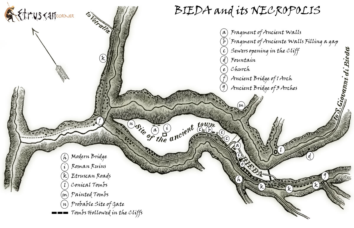 Mappa Necropoli di Blera Bieda