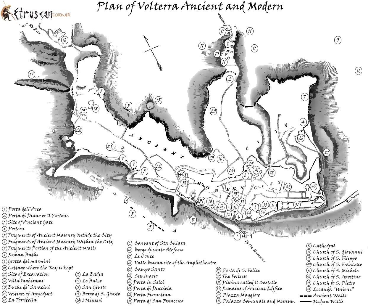 Mappa di Volterra Antica e Moderna