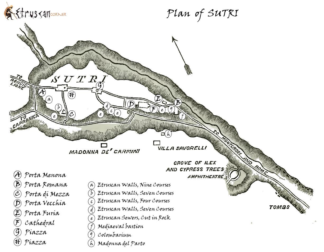 Mappa di Sutri e Necropoli