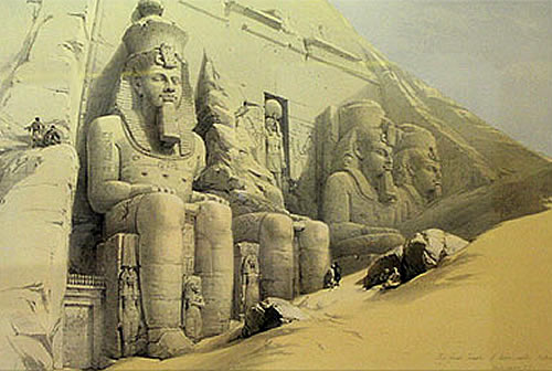 Grotte Sacre Abu Simbel Incisione David Roberts 1855 Etruscan Corner