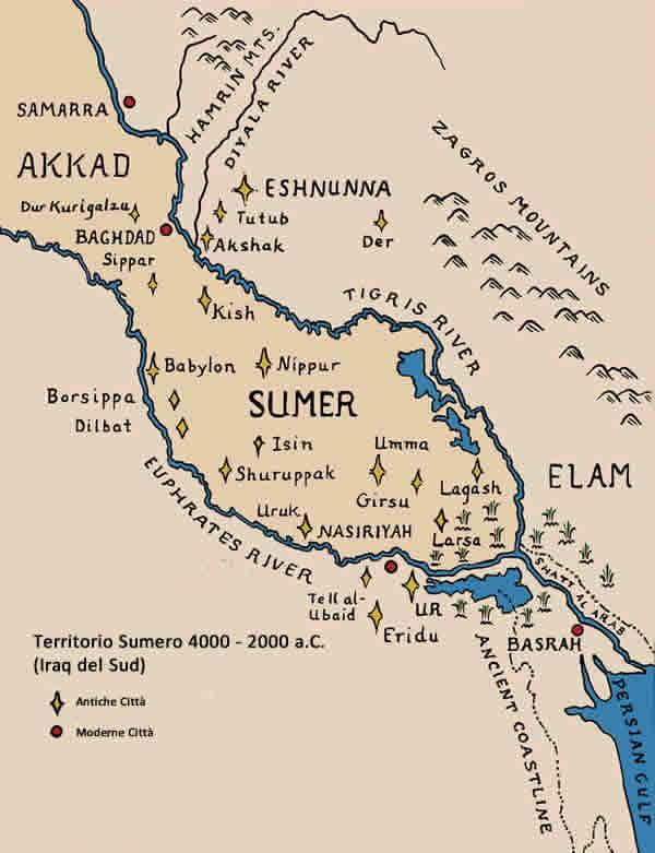 Territorio Sumero Mappa Tell Asmar Abu Dio Della Vegetazione