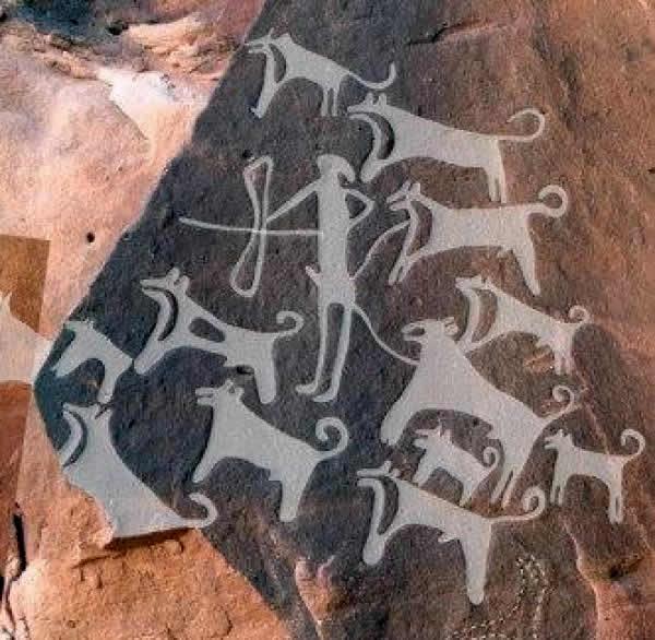 Scritto Nella Roccia - Shuwaymis - Cacciatore con Cani